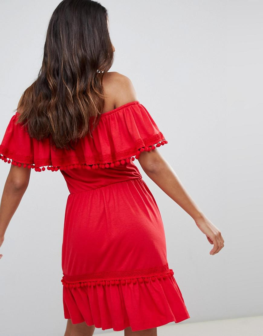 492e3f557a6b Lyst - ASOS Off Shoulder Midi Sundress With Broderie And Pom Pom Trim in Red