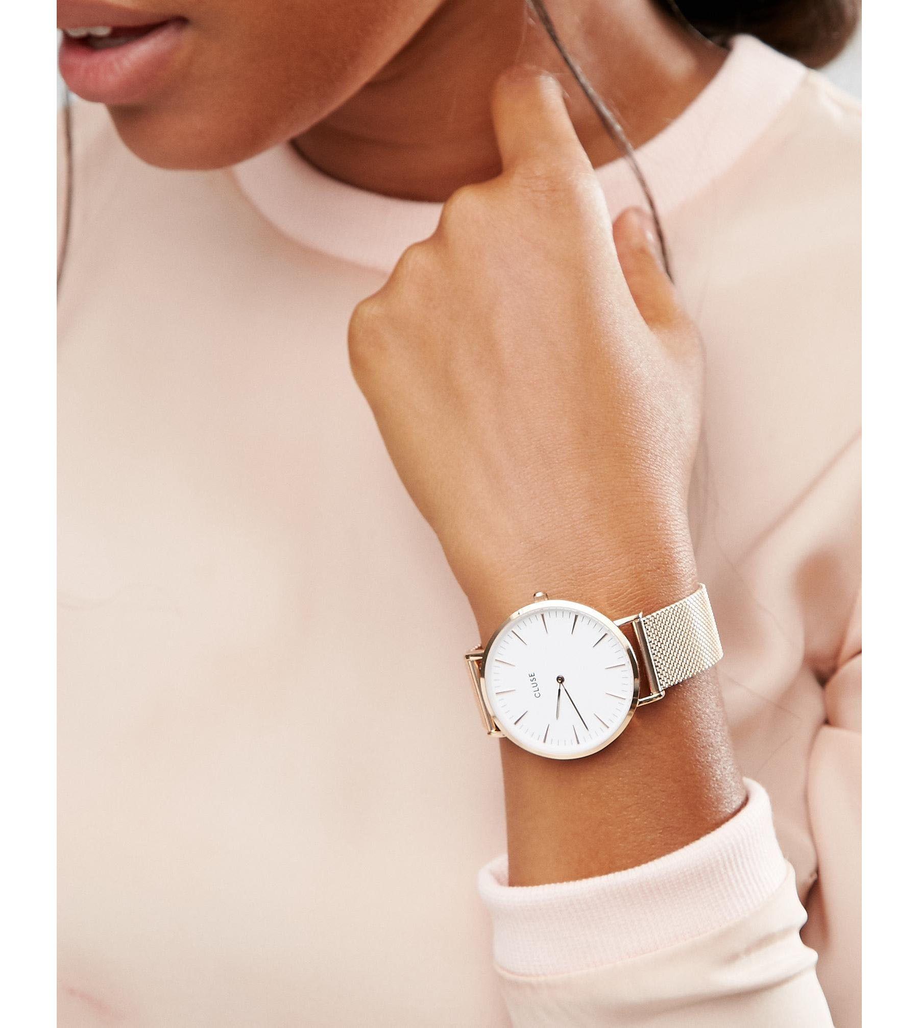8bc4148e394 Lyst - Cluse La Boheme Mesh Rose Gold Watch Cl18112