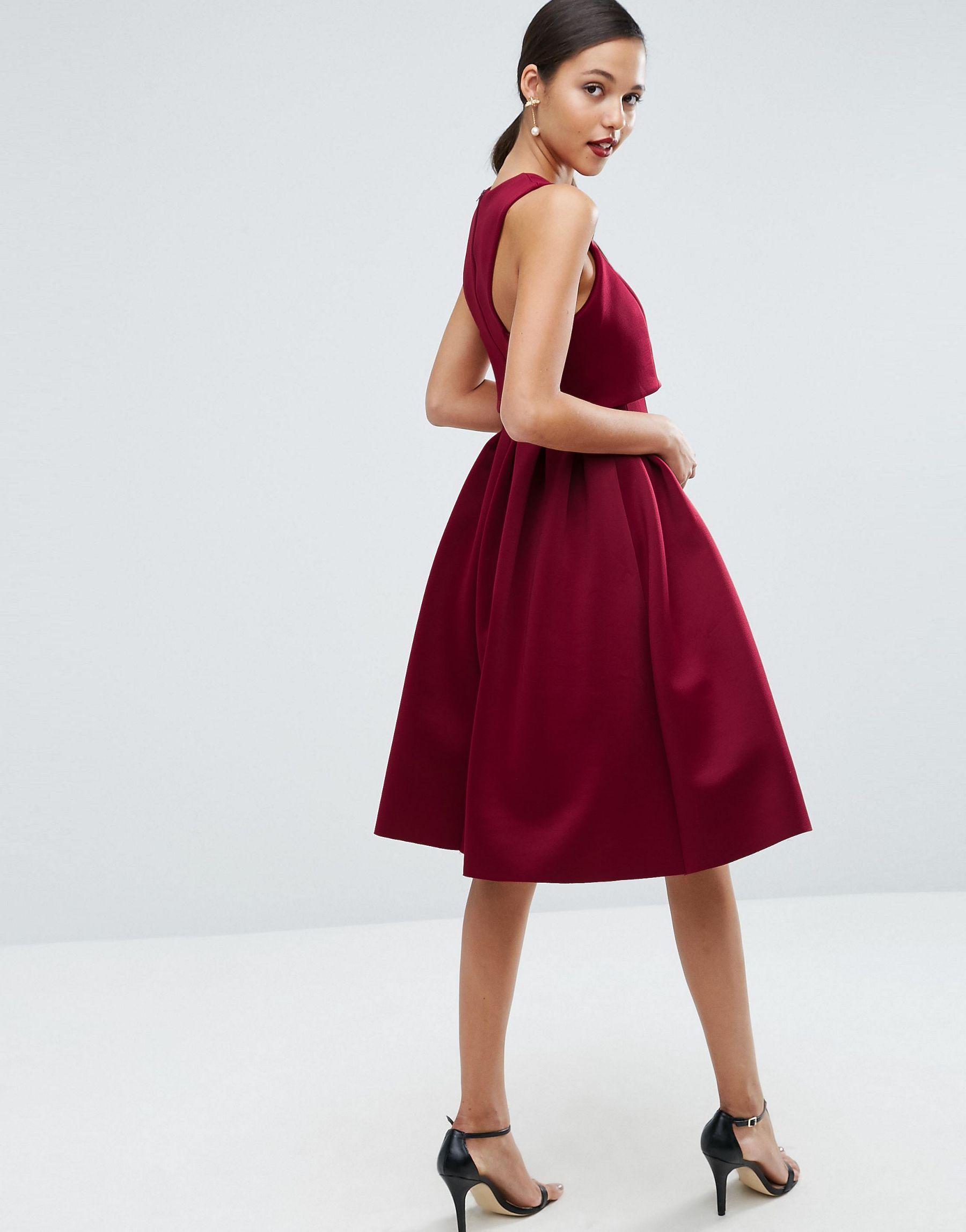 91598d3f2be Lyst - ASOS Debutante Crop Top Midi Scuba Dress in Red