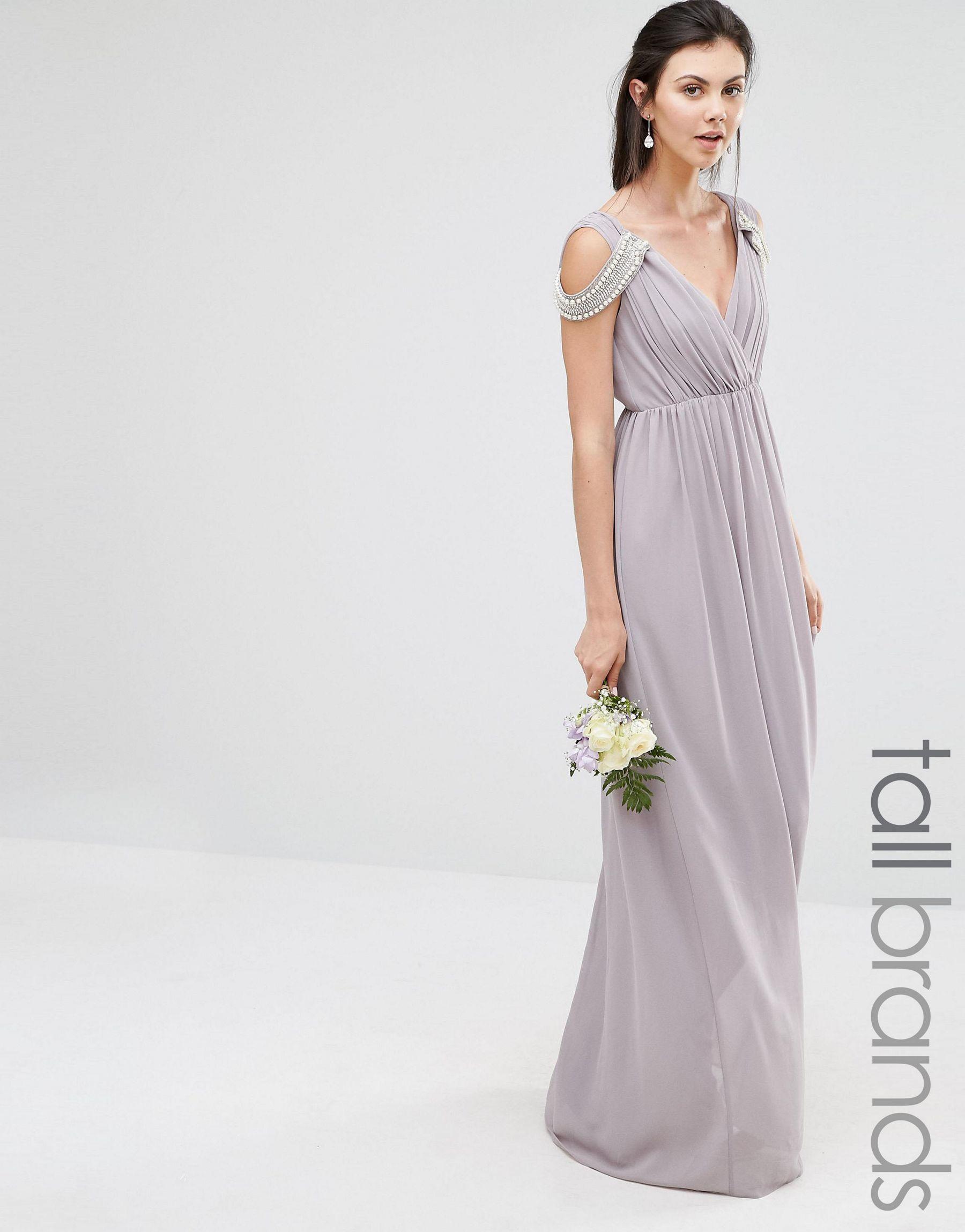 Tfnc london wedding cold shoulder wrap front maxi dress in for Tfnc wedding wrap maxi dress