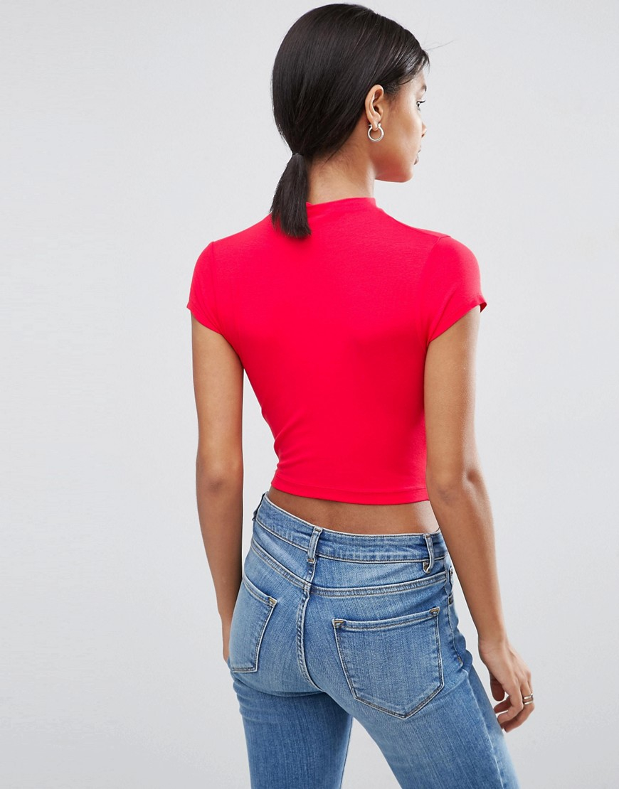5440b3265b6a0e Lyst - ASOS The Ultimate Super Crop Top With Cap Sleeves in Red