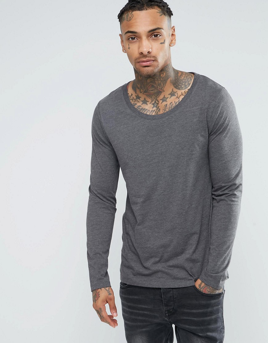 Asos long sleeve t shirt with scoop neck in charcoal in for Scoop neck long sleeve shirt