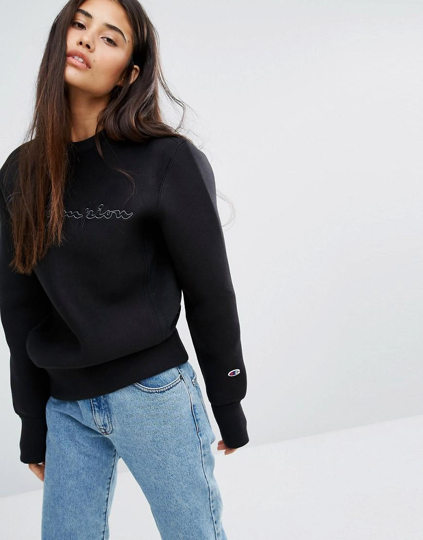 Champion Oversized Sweatshirt With Shadow Script Embroidery in Black ... 2f47b0d30e