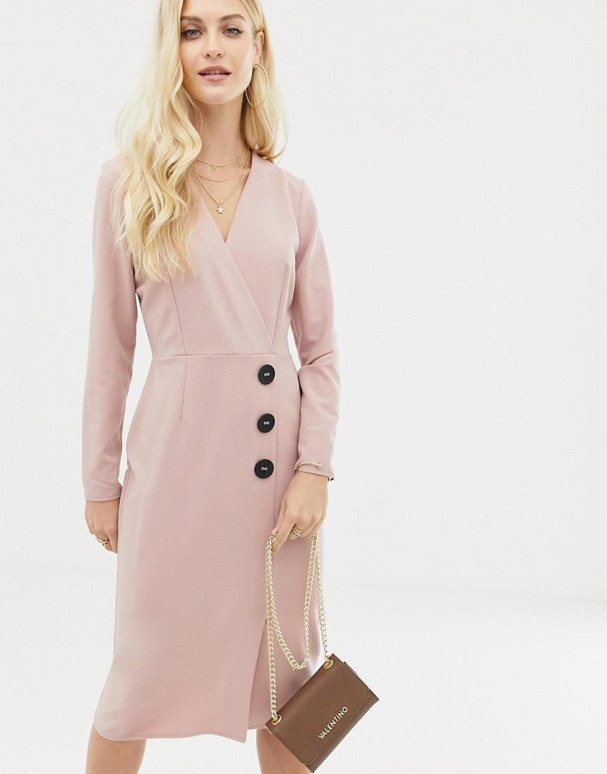 c1050ed7961 Lyst - ASOS Wrap Front Midi Dress With Button Detail in Pink