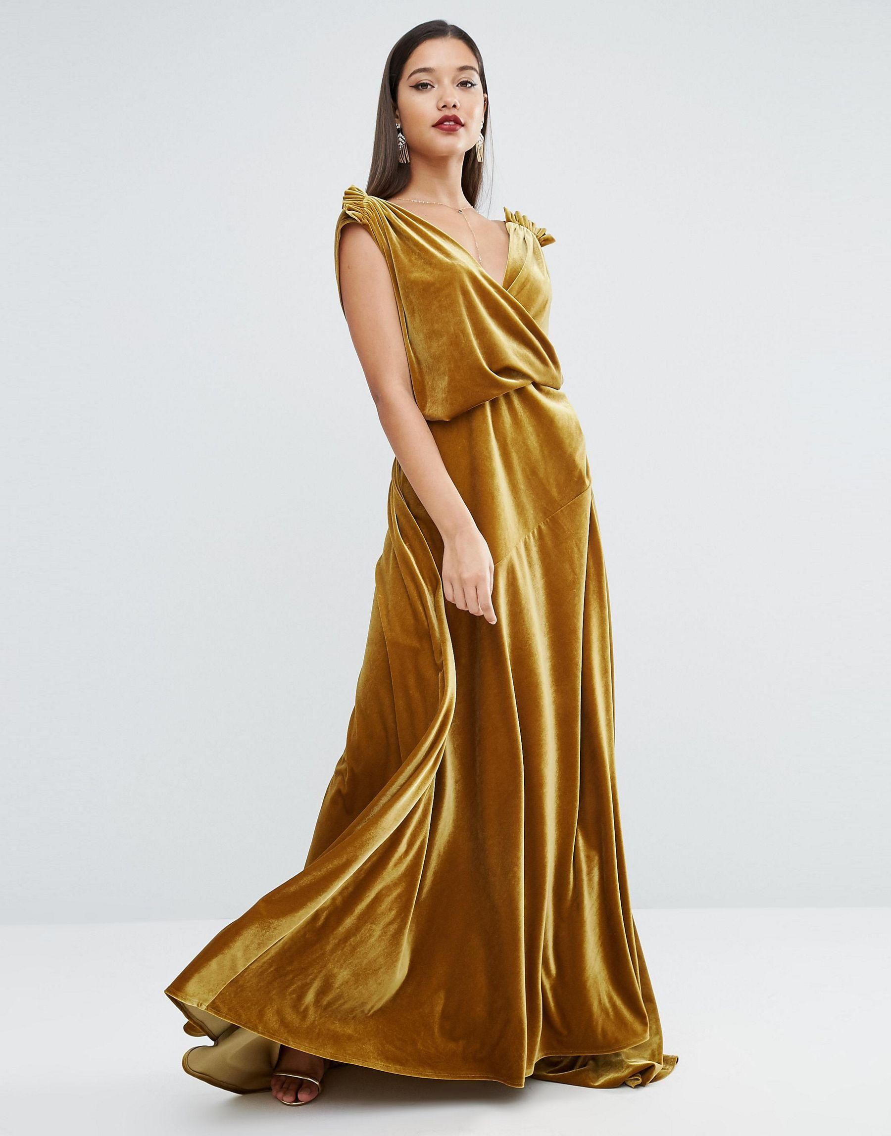 Asos Red Carpet Velvet Drape Maxi Dress Lyst