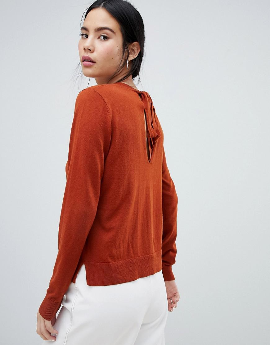 95dbc2419e53d Lyst - Asos Eco Jumper With Tie Back in Brown