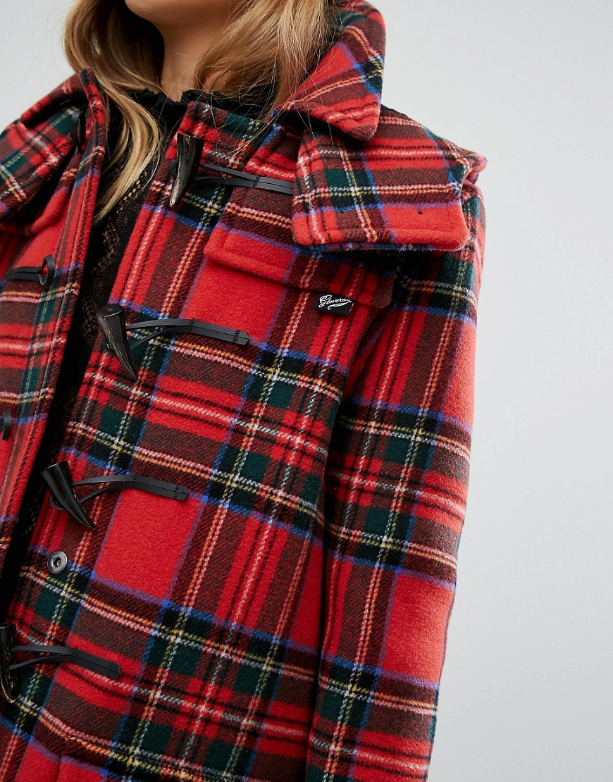 Gloverall Check Duffle In Royal Stewart Tartan In Red Lyst