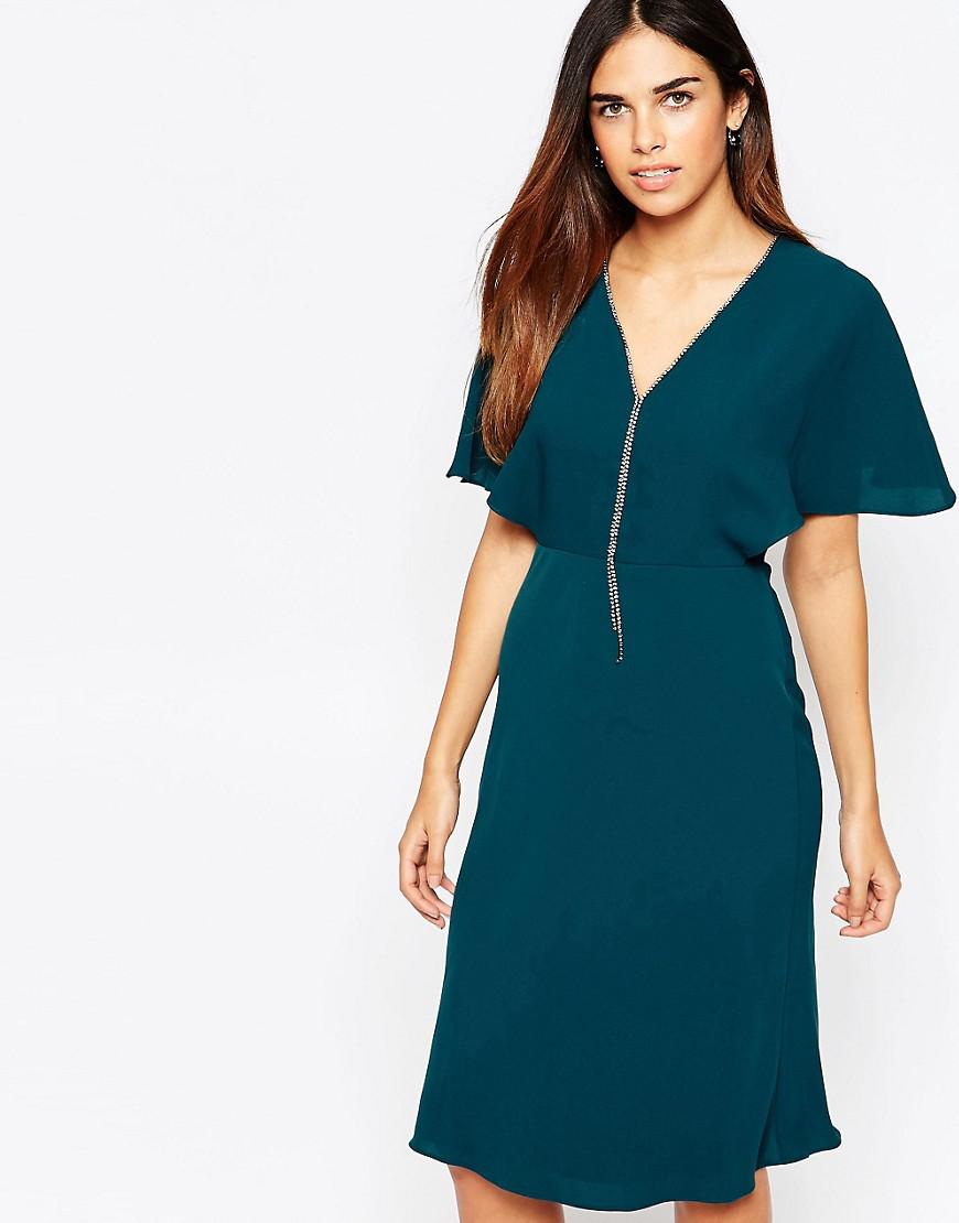 Free Shipping Huge Surprise Nice Diamonte V Front Mini Dress - Green Warehouse Buy Cheap Footaction Discount Outlet Free Shipping Discounts hAWekjRU