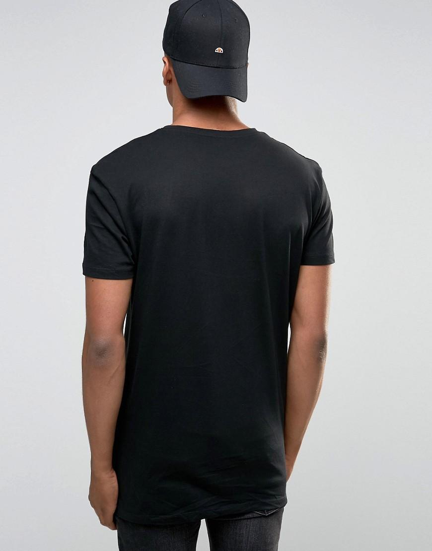 Lyst new look longline t shirt in black in black for men for New look mens shirts