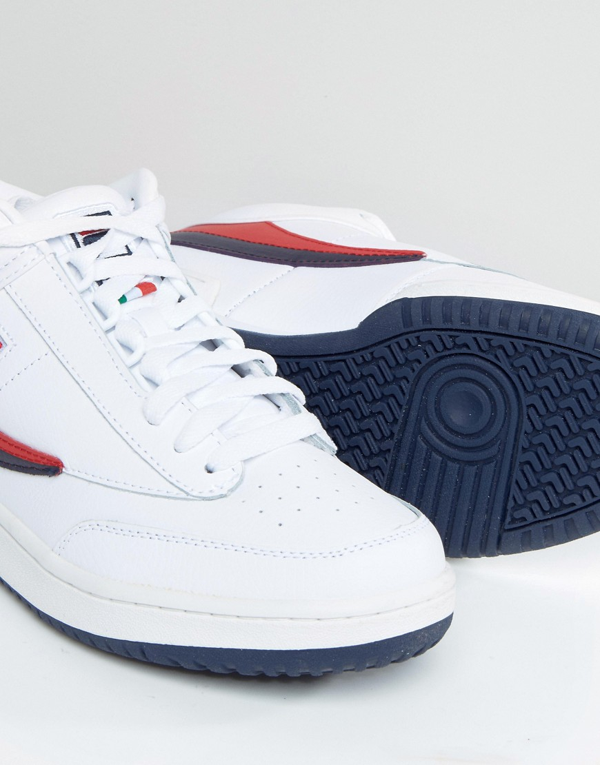 fila t 1 mid trainers in white for men lyst. Black Bedroom Furniture Sets. Home Design Ideas