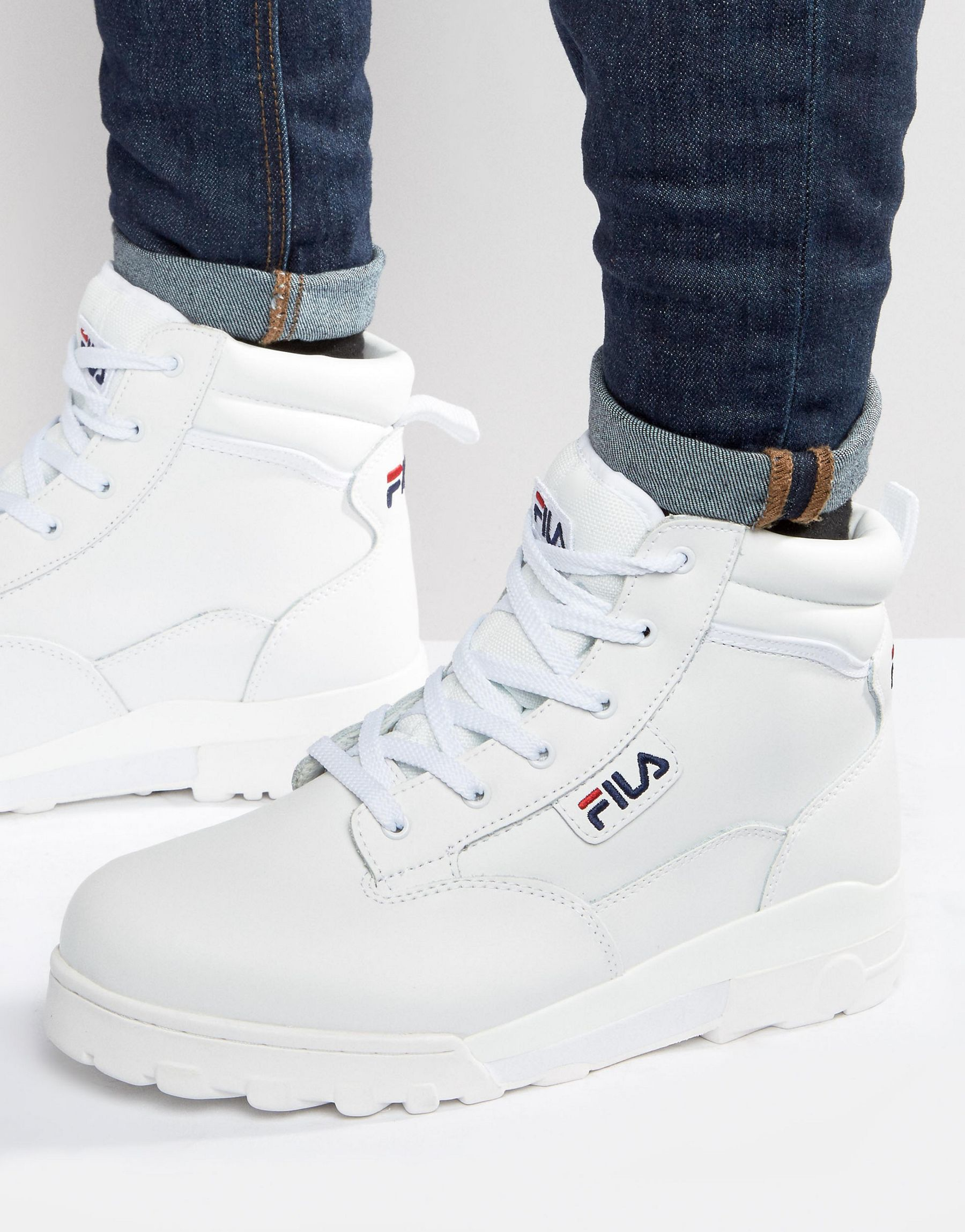 6033a91b996 Fila Grunge Mid Laceup Boots in White for Men - Lyst