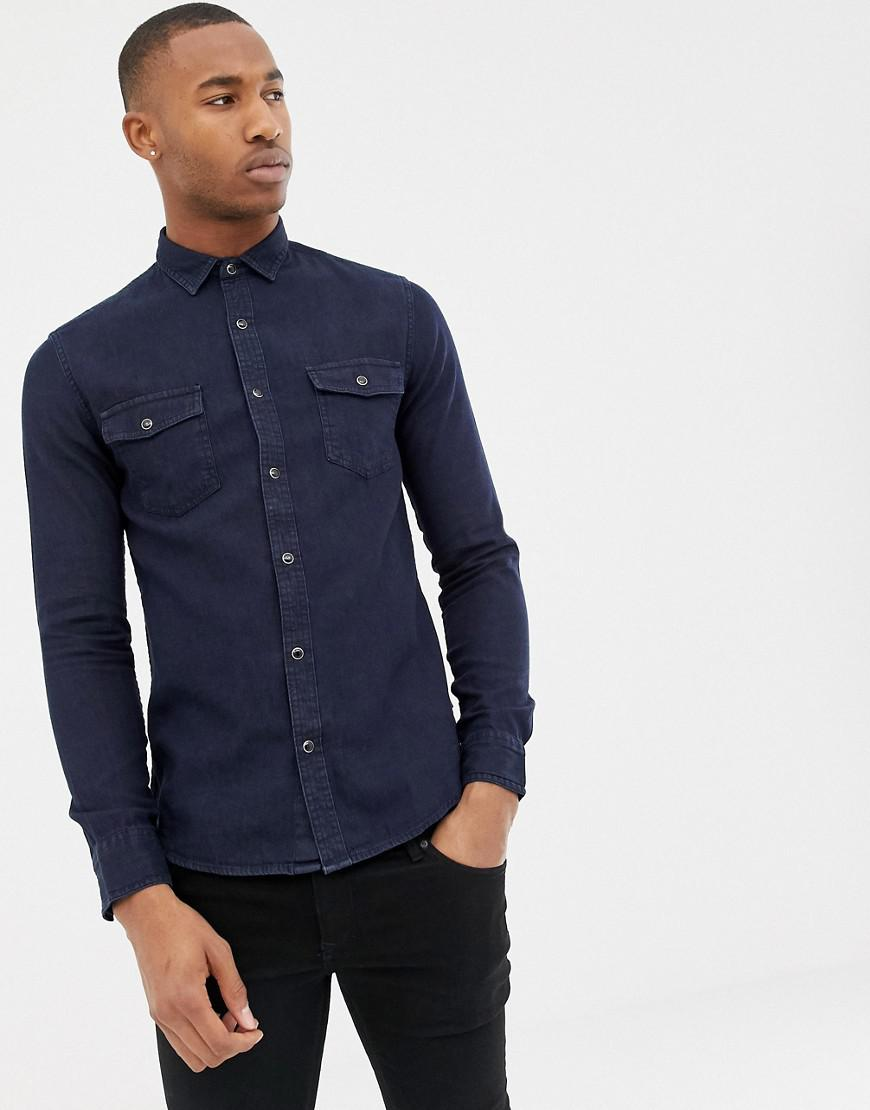 607d6d2e2a Lyst - Only   Sons Slim Fit Denim Shirt in Blue for Men
