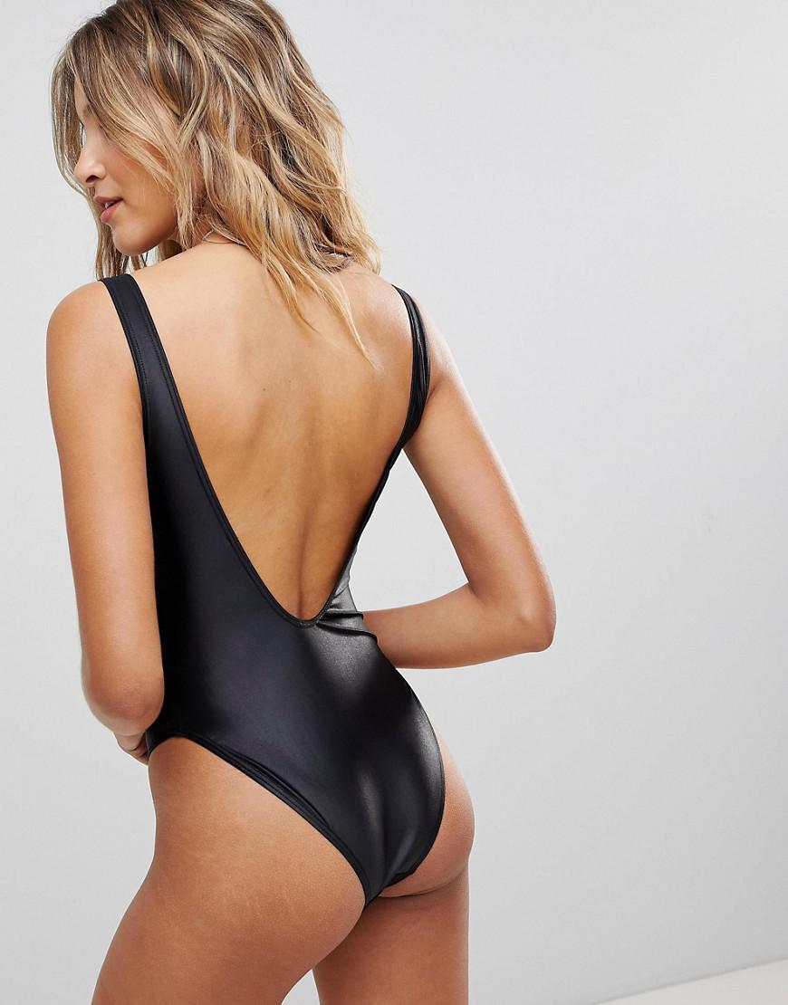 3e0c13be16162 Ann Summers Bahia Wetlook Zip Swimsuit in Black - Lyst