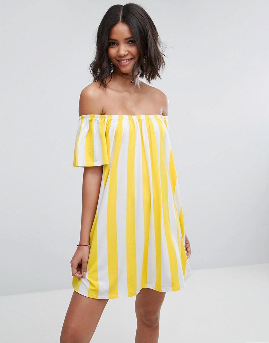 de0d8df0948a Lyst - ASOS Asos Off Shoulder Sundress Deckchair Stripe in Yellow