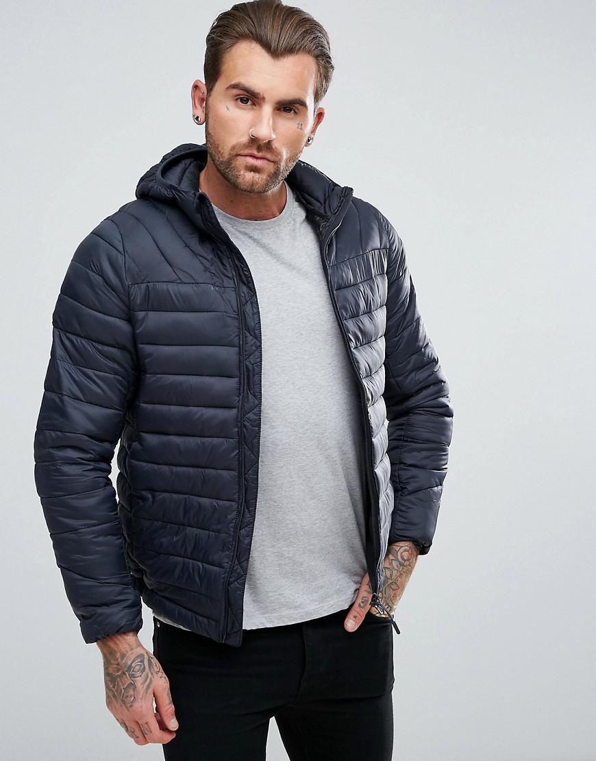 17313173278f5 Pull&Bear Quilted Jacket With Hood In Navy in Blue for Men - Lyst