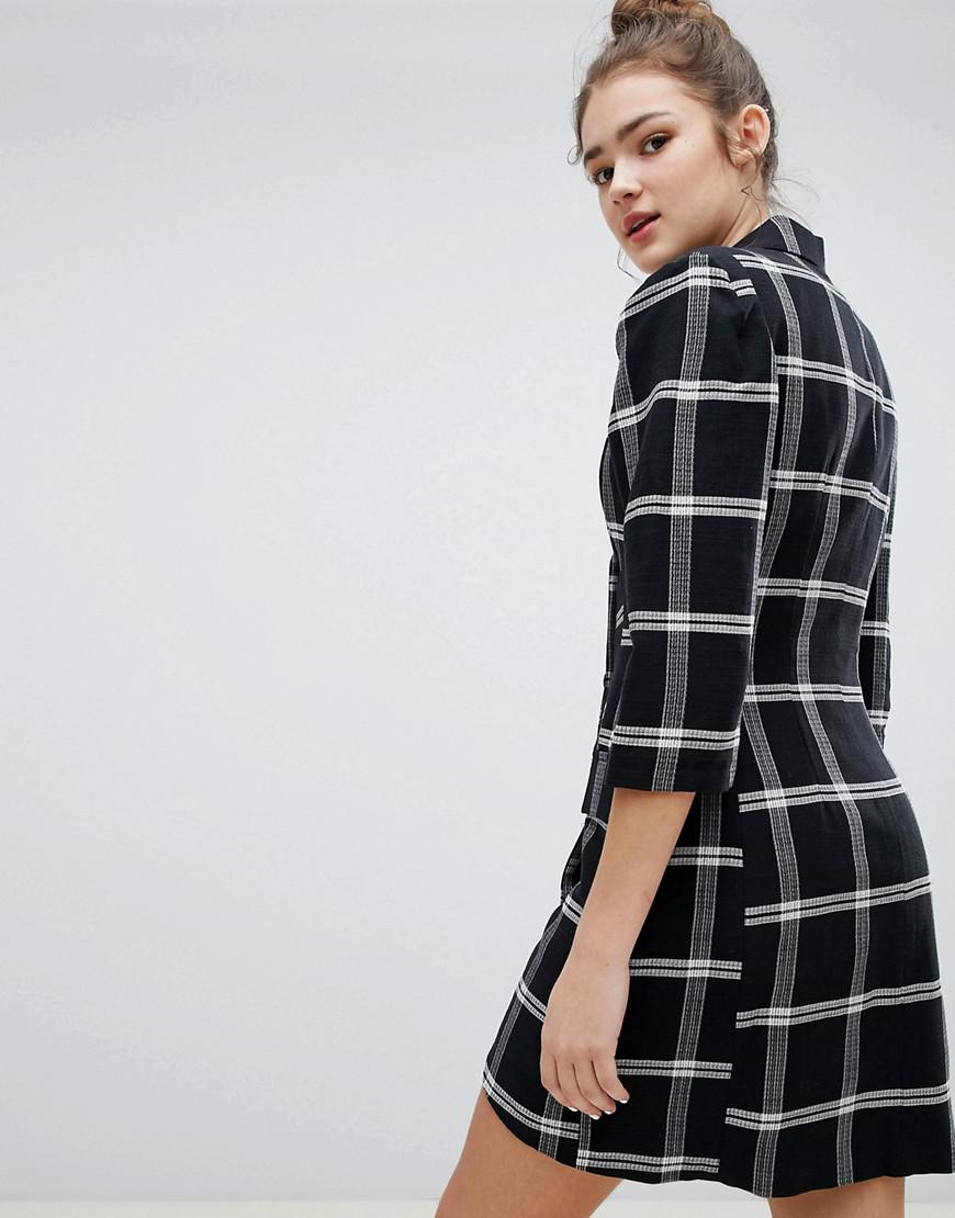 Check Shirt Dress - Black Bershka 0cU2CNvqoi