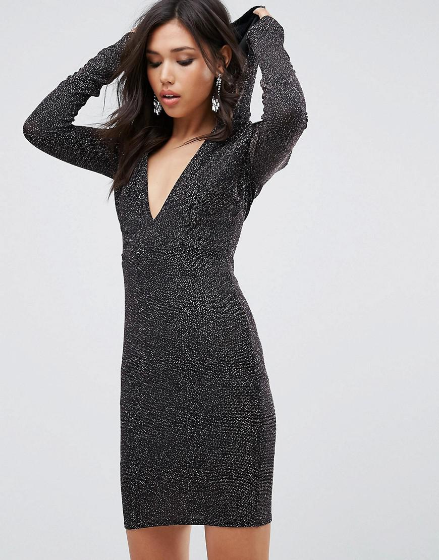 Lyst - Club L Glitter Plunge Front Bodycon Dress With Hood in Metallic 9c19540cb