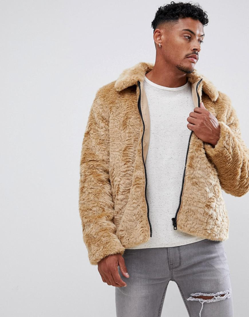 78a8e65e2 ASOS Faux Fur Jacket In Brown in Brown for Men - Lyst