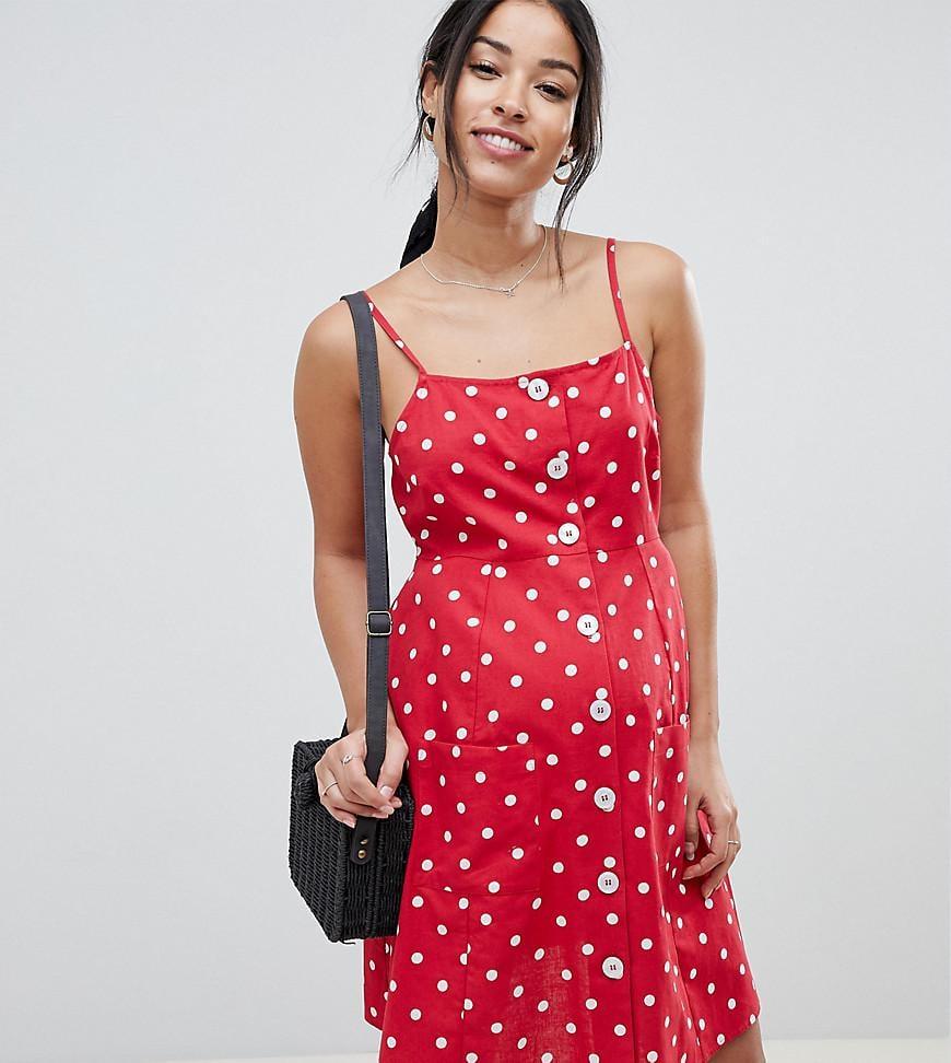 f83a6216d8 ASOS. Women s Red Asos Design Maternity Polka Dot Button Through Linen Mini  Sundress