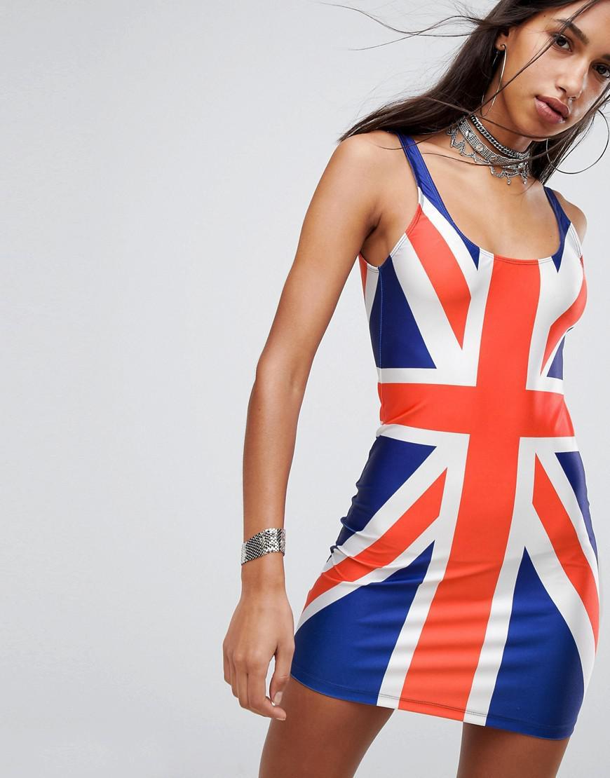 lyst jaded london union jack mini dress in blue. Black Bedroom Furniture Sets. Home Design Ideas