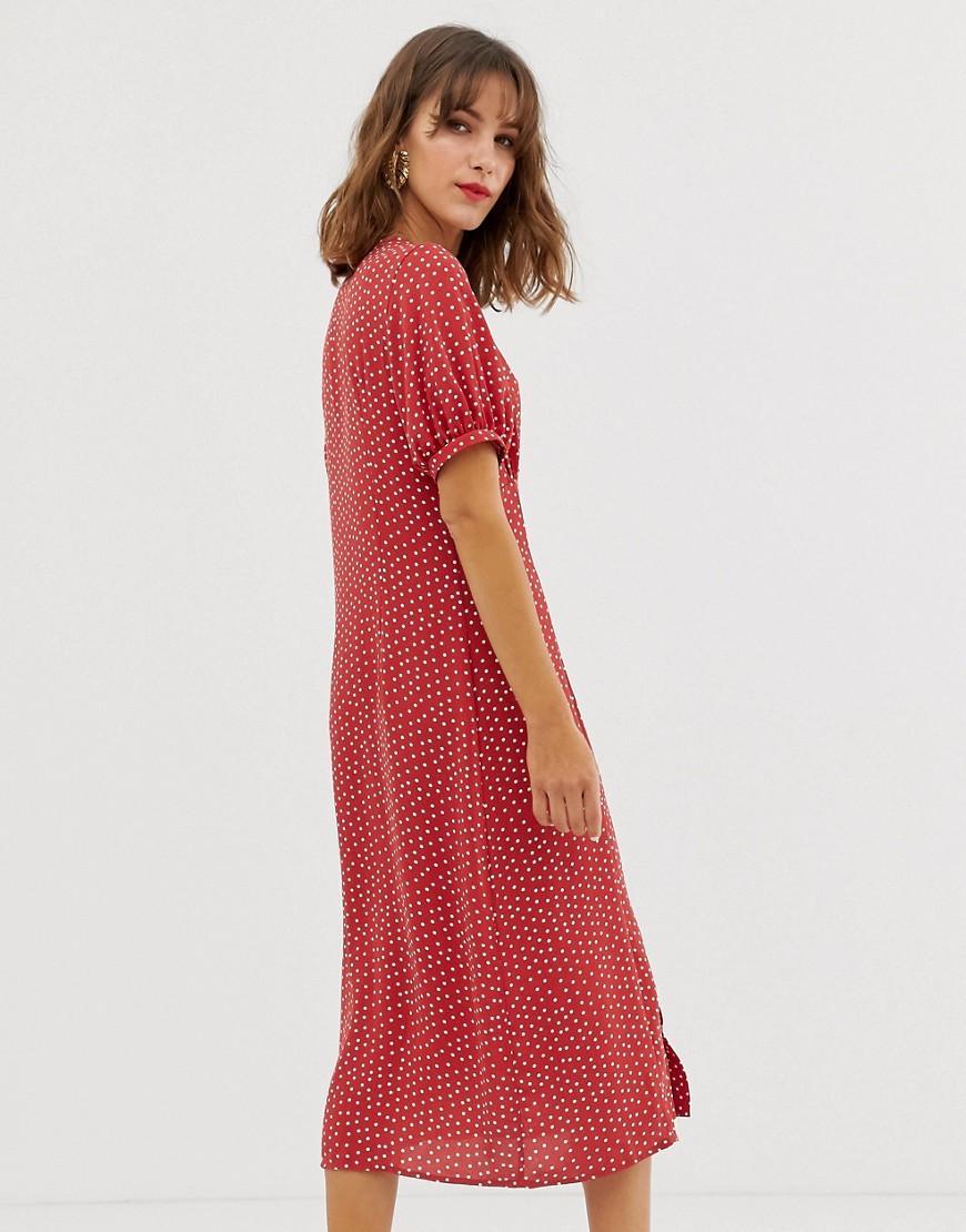 154c8728cb Vero Moda Polka Dot Midi Dress With Volume Sleeve in Red - Lyst