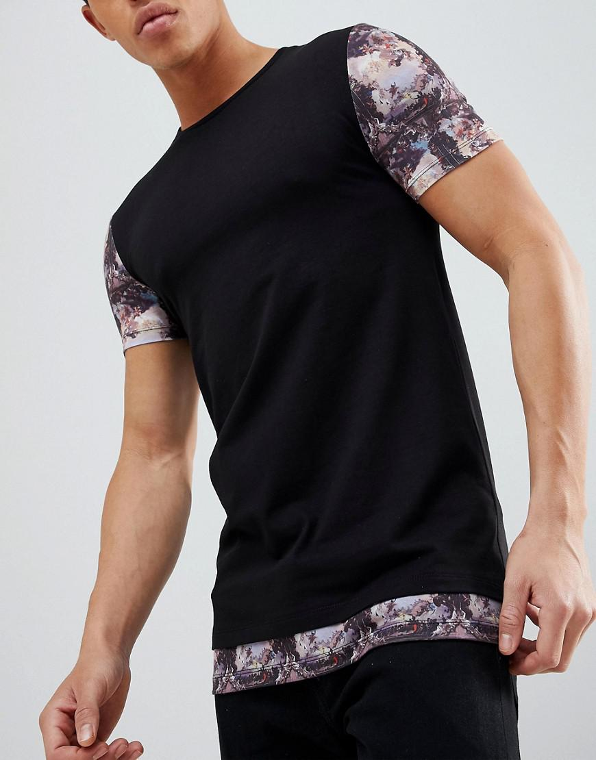 DESIGN longline muscle t-shirt with scene print sleeves and hem extender - Black Asos Buy Cheap Excellent Buy Cheap Collections Largest Supplier Clearance Low Cost ciYU4q