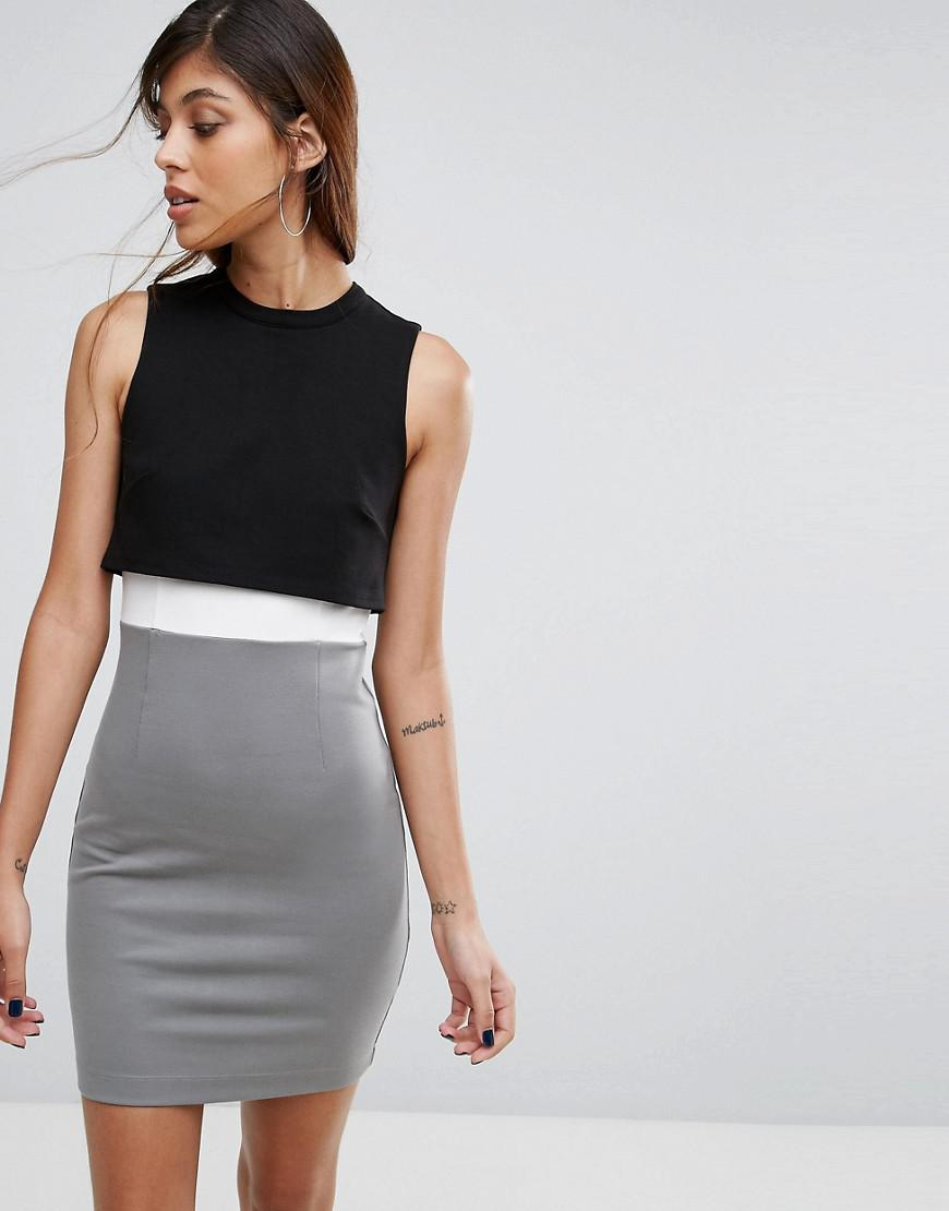 c776f149953 Lyst - French Connection Lula Stretch Color Block Bodycon Dress in Black
