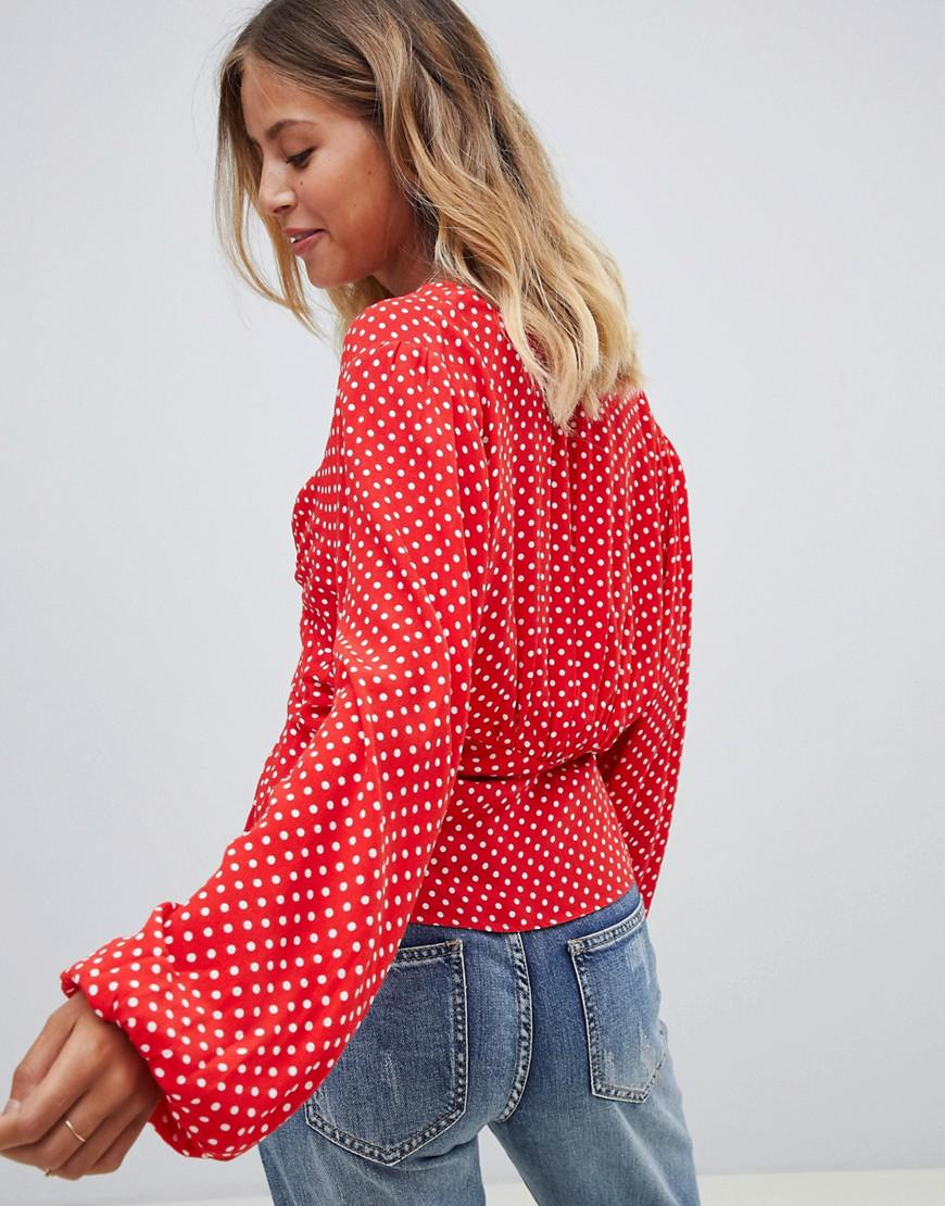 58749bf0d0d43c Free People Love Street Polka Dot Top in Red - Lyst