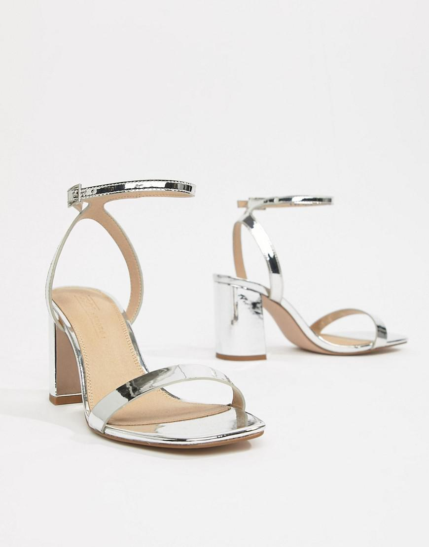 6fbba7ce2f70 Lyst - ASOS Hong Kong Barely There Block Heeled Sandals in Metallic
