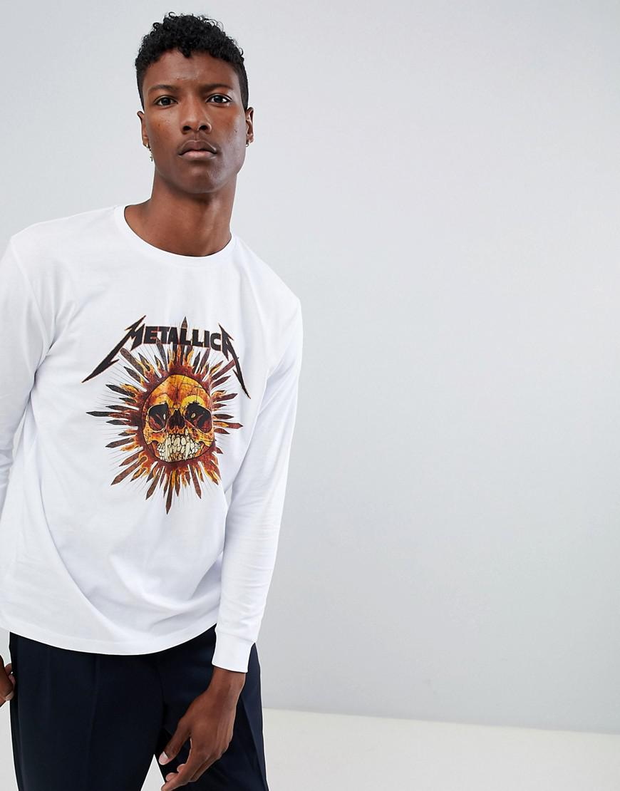 34a6c4781fa67 ASOS Metallica Relaxed Long Sleeve T-shirt in White for Men - Lyst