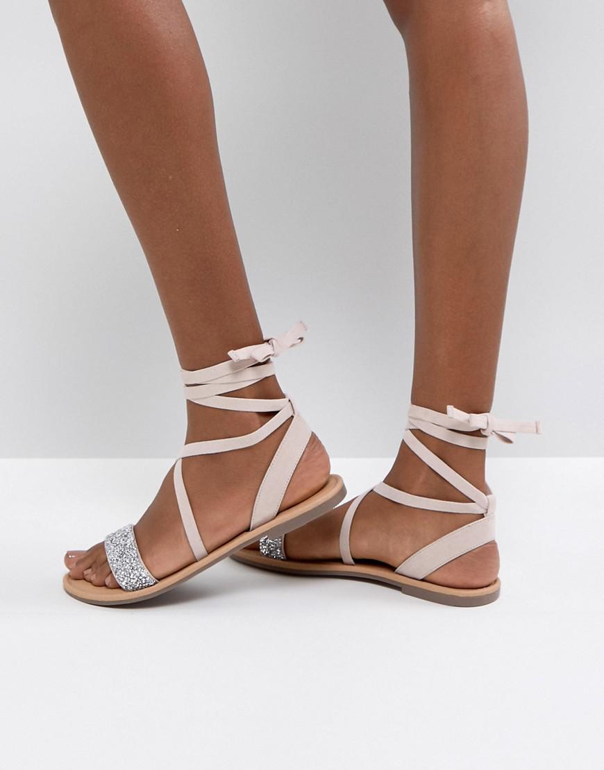 f2d7759c3f66 ASOS Asos Fi Embellished Flat Sandals in Natural - Lyst