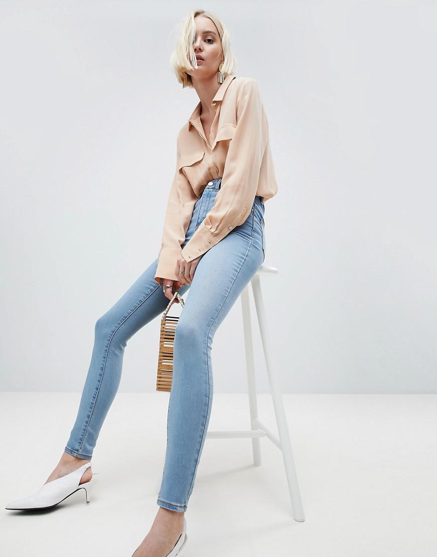 DESIGN Sculpt Me High Rise Premium Jeans In Antoinette Mid Wash Blue - Antoinette Asos pDOoLnEHr