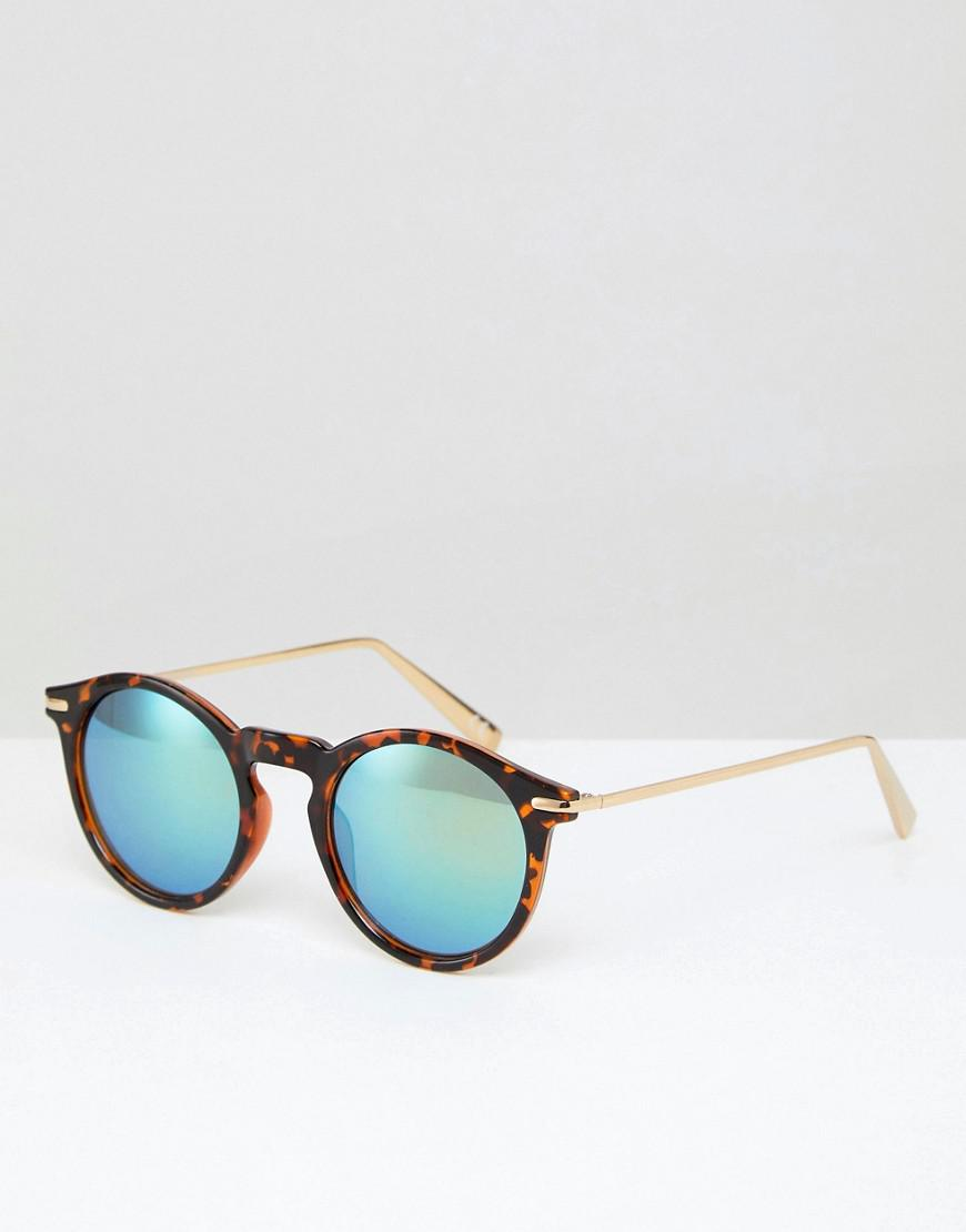 75298fa1107f96 ASOS Asos Round Sunglasses With Metal Arms And Flash Lens In Tort in ...