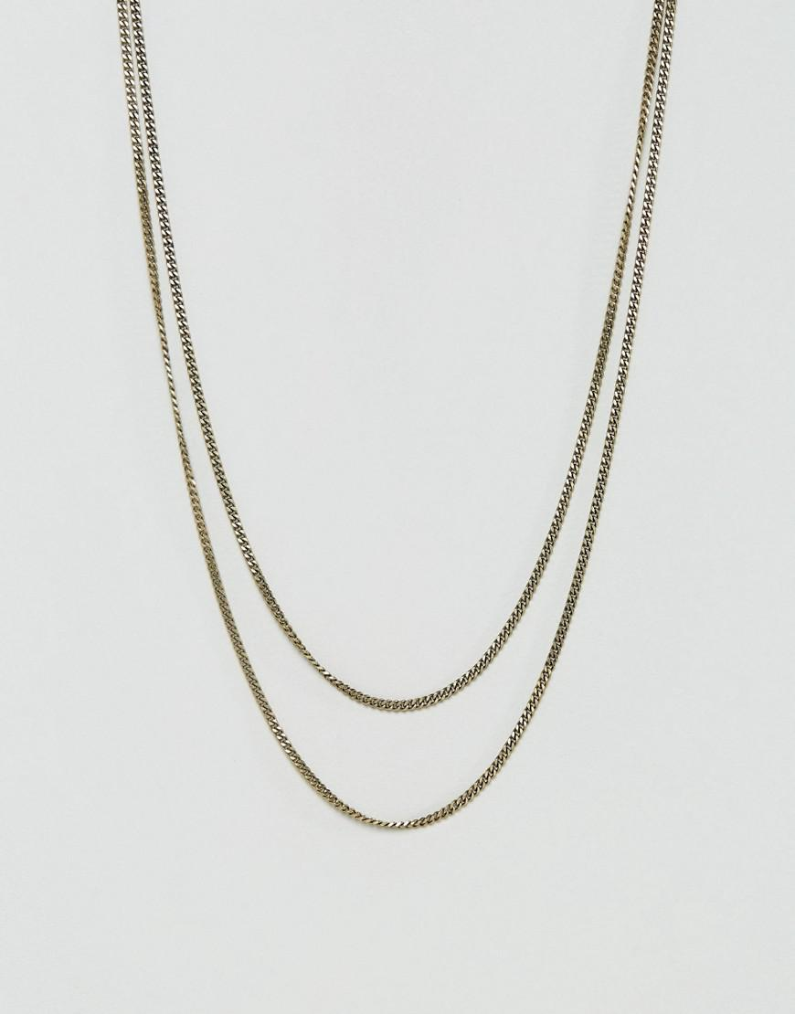 Icon brand Double Curb Necklace In Burnished Gold in Metallic for