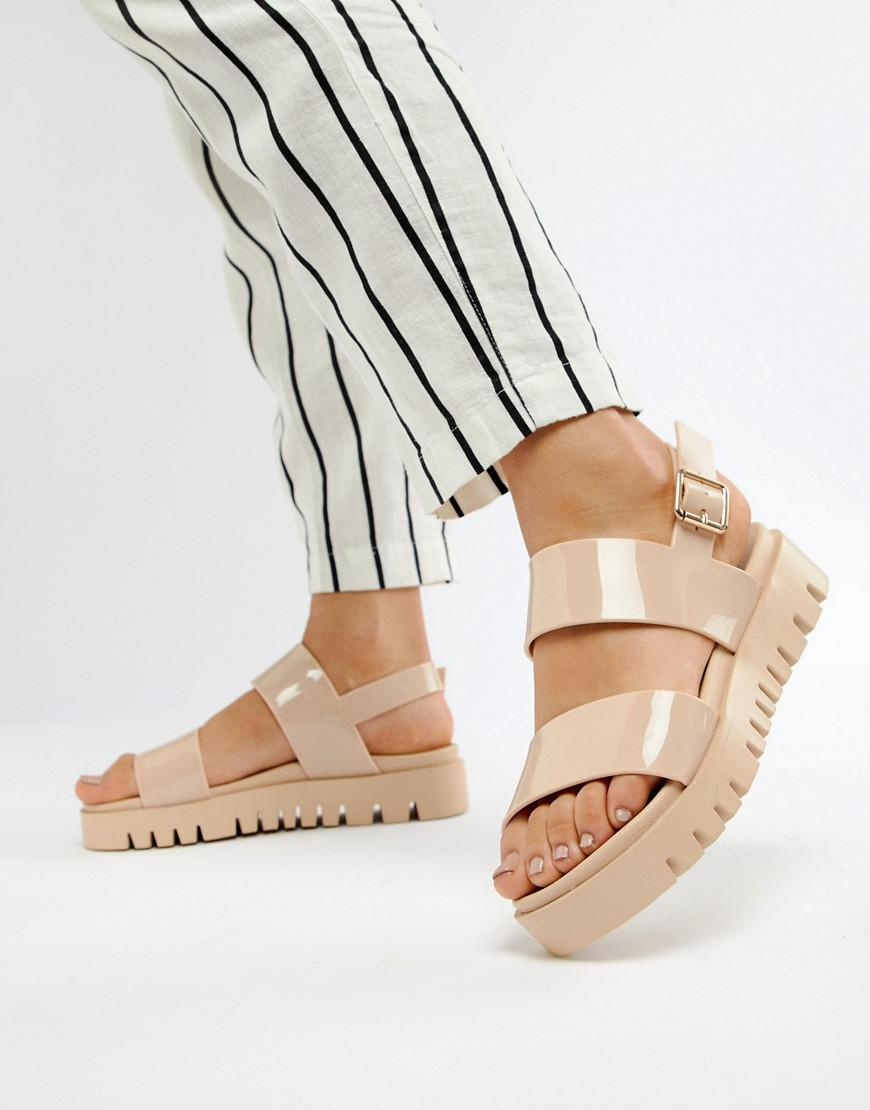 5c64ad4666 ASOS Fadey Chunky Jelly Flat Sandals in Natural - Lyst