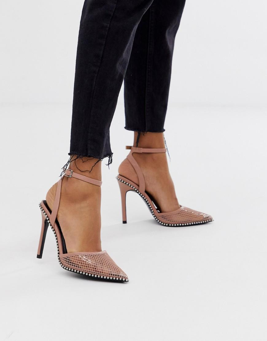 a4a549ef623f ASOS Pixie Pointed High Heels With Studs in Pink - Lyst