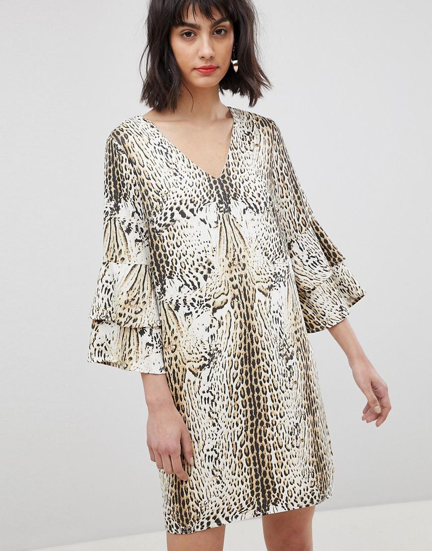 ... Multicolor Leopard Print Dress With Tiered Sleeves - Lyst. View  fullscreen 070f65a94
