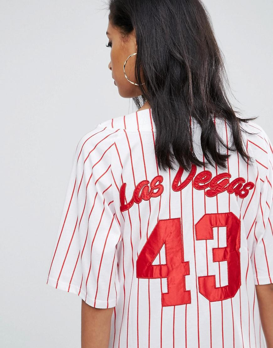 c21cf477e87 ASOS Jersey Baseball Mini Dress In Red And White Stripe in Red - Lyst