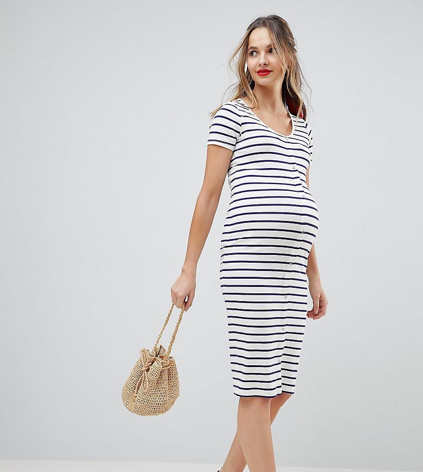 3157fddc64 Lyst - ASOS Asos Design Maternity Midi Short Sleeve Bodycon Dress ...