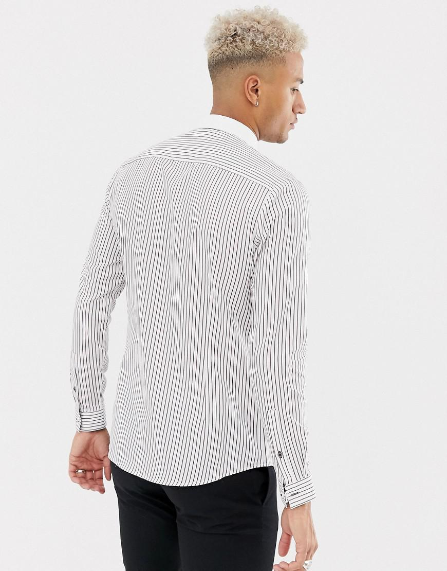 478ccb8fcf River Island Shirt With Verticle Stripes In White in White for Men - Lyst