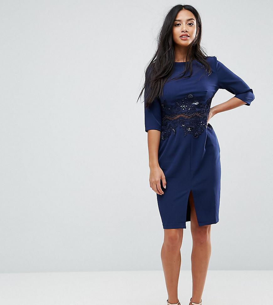e0ebcc8b5b5ba3 Lyst - Little Mistress Pencil Dress With Mesh Insert   Sequin in Blue