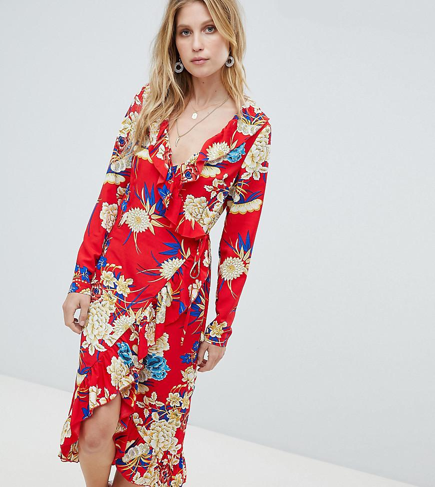 ab11aa08e983 PrettyLittleThing Floral Ruffle Wrap Midi Dress in Red - Lyst