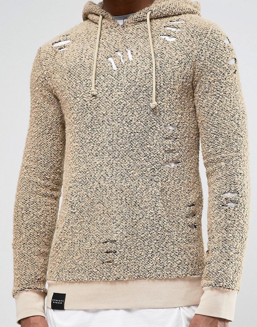 criminal damage hoodie with distressing in natural for men lyst. Black Bedroom Furniture Sets. Home Design Ideas