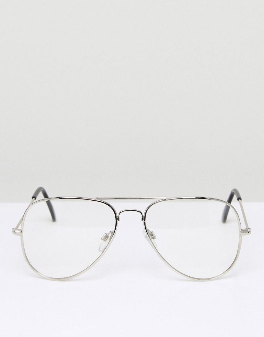 9dd2a0774a4ac ASOS Aviator Glasses With Clear Lens In Silver in Metallic for Men - Lyst