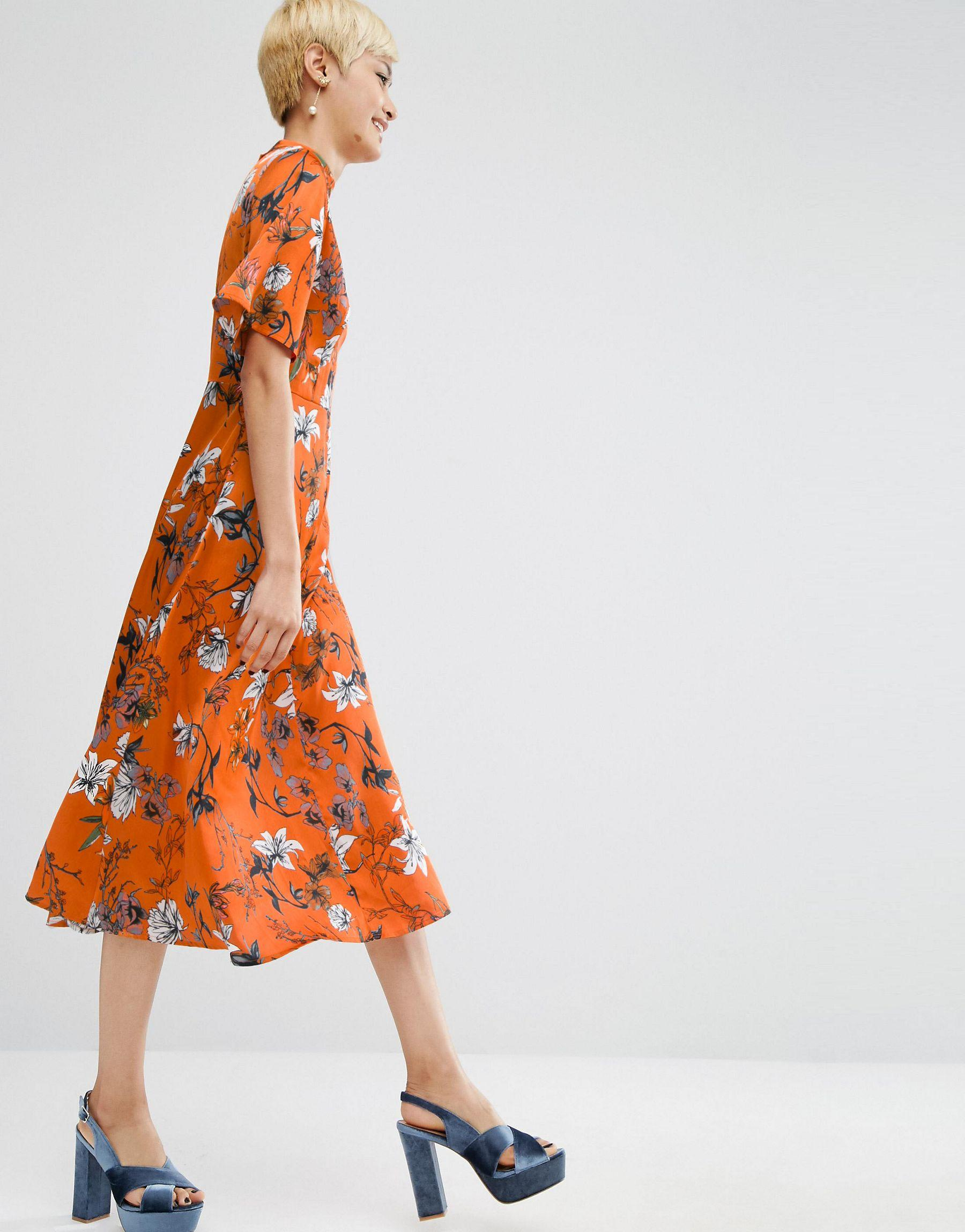 Asos Kimono Sleeve Midi Dress In Painted Floral in Orange ...