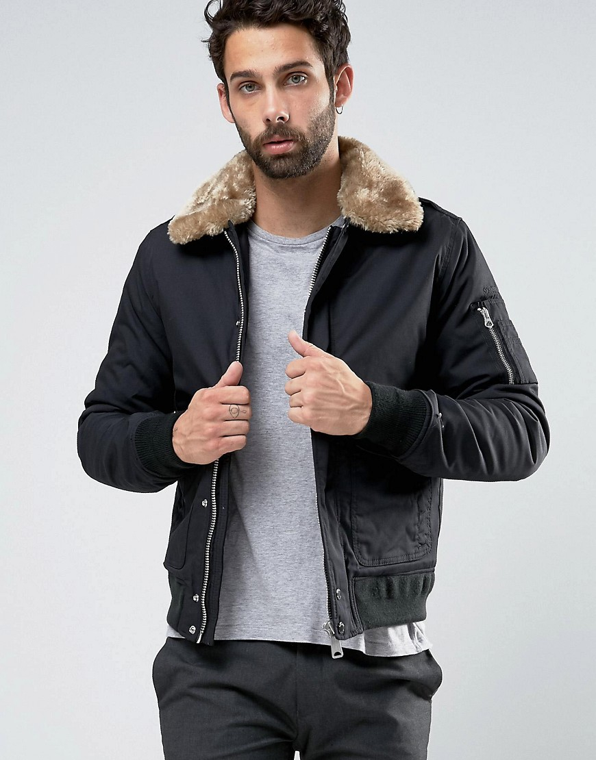 Schott nyc Air Bomber Jacket Faux Fur Collar Exclusive in Black ...