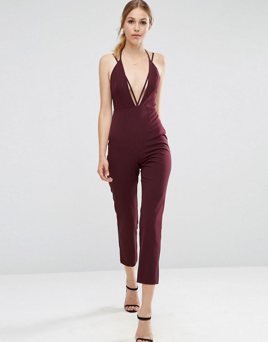 Asos Cami Jumpsuit With Strap Detail in Red | Lyst
