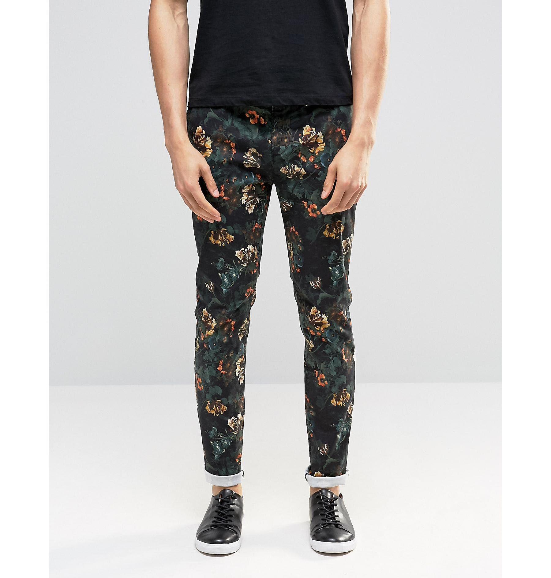 Asos Skinny Pants In Dark Floral Print in Black for Men   Lyst