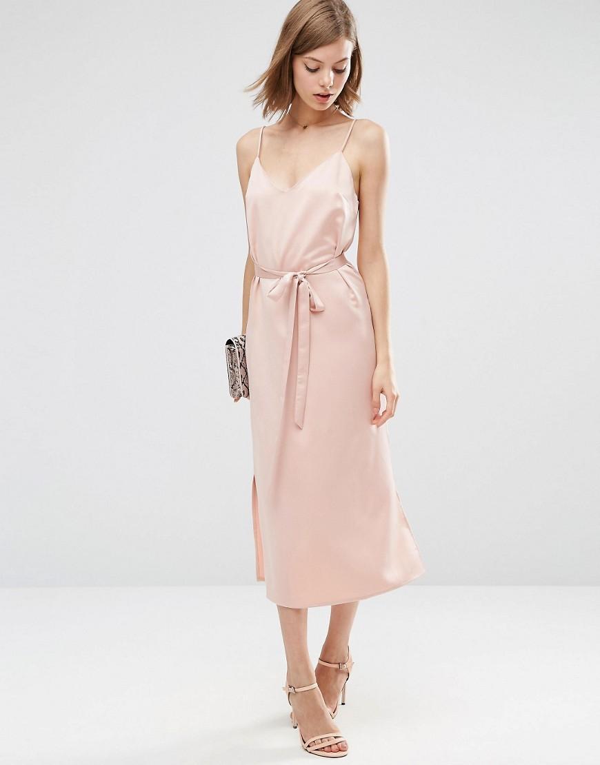 Asos Midi Slip Dress In Satin With Tie Waist In Pink Lyst