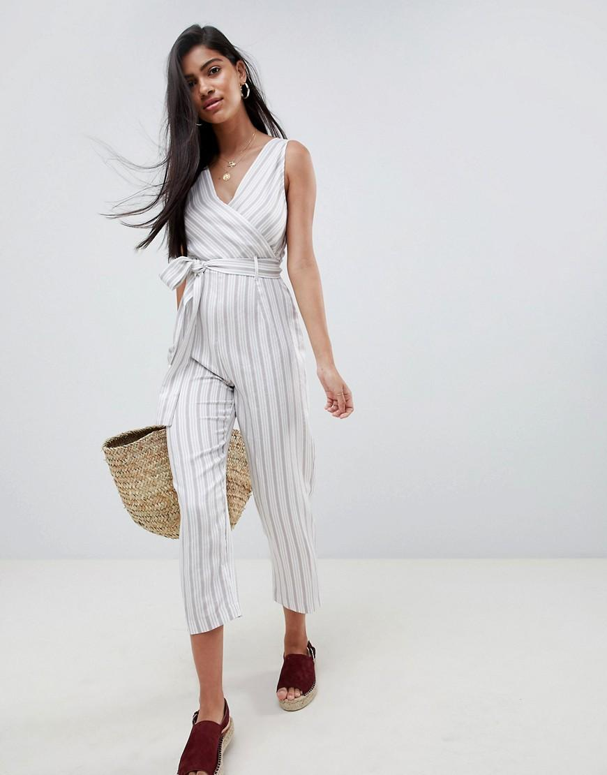 2c1a3c018a5 Lyst - ASOS Cami Jumpsuit With Tie Waist In Linen Stripe Print